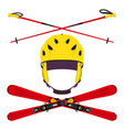 set of helmet with ski poles skiing in flat style vector image