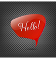 Abstract Metal Background With Red Speech Bubble vector image vector image