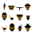 antique vase set decorative classical and old vector image
