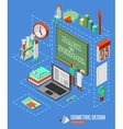 Back to school isometric 3d background with school vector image
