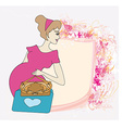 Beautiful pregnant girl frame vector image