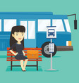 business woman waiting at the bus stop vector image vector image
