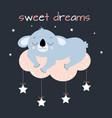 card with cute sleeping koala vector image vector image