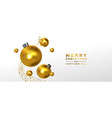 christmas new year banner gold 3d ornament falling vector image