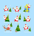 christmas tree and santa claus collection of vector image vector image