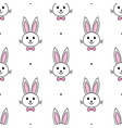 cute rabbits with bow tie on white background vector image