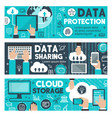 data protection cloud web sharing banners vector image vector image