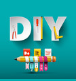 do it yourself design with paper cut letters vector image vector image