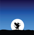 dragon silhouette on the moon background vector image