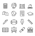 educational study line icons vector image vector image