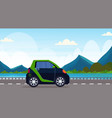 electric car driving highway road eco friendly vector image