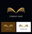 gold open book logo vector image vector image