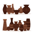 greek vases ancient decorative pots isolated on vector image vector image