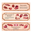 hand drawn fresh meat horizontal banners vector image vector image
