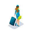 isometry of the stewardess girl with things and vector image vector image