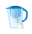 jug with water filter mineral cartridge on white vector image vector image