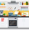 Kitchen with utensils and dishes home cooking vector image vector image