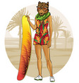leopard with surfboat and tropical sunset vector image vector image