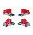 Low poly red heavy american truck vector image vector image