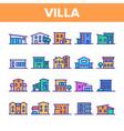 luxurious villa cottage linear icons set vector image