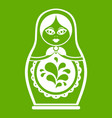 matryoshka icon green vector image
