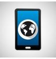 mobile phone app globe work vector image vector image