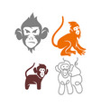 monkey head line logo design template set vector image