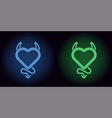 neon devil heart in blue and green color vector image vector image