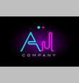neon lights alphabet aj a j letter logo icon vector image
