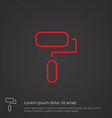 paint roller outline symbol red on dark background vector image