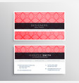pink business card template with pattern vector image vector image
