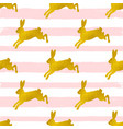 rabbits on a pink striped background vector image vector image