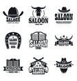 saloon logo set simple style vector image vector image