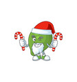 santa with candy fresh lime cartoon character for vector image vector image