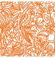 seamless pattern tropical bird leaves flower art vector image