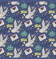 seamless pattern with cute white doves vector image