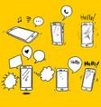set hand drawn smartphone smartphone icon vector image
