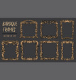 set with gold baroque frames in rococo style vector image