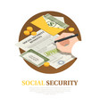 social security benefits isometric composition vector image