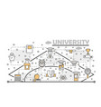 thin line art university poster banner vector image vector image