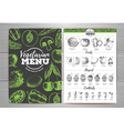 Vintage vegetarian menu design Fresh fruit sketch vector image vector image