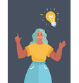woman with big bulb above on dark background vector image vector image