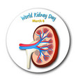 world kidney day round emblem vector image vector image
