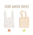zero waste rules disposable package vs reusable vector image