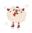 Sheep santa on skates symbol of new year 2015 vector image
