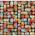Retro seamless pattern with mosaic of flowers vector image