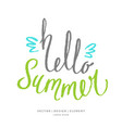 modern hand drawn lettering word hello summer vector image