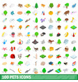 100 pets icons set isometric 3d style vector image