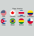 american countries flag set north central south vector image