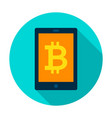 bitcoin tablet circle icon vector image